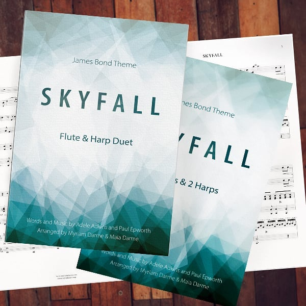 In 2014, Myriam and I recorded a flute & harp cover of Adele's song Skyfall (it's on YouTube here: https://youtu.be/30EhGIy5fu4)  We've been trying ever since to get the rights to publish our arrangement. The whole process took over three years and was quite the emotional roller coaster, so I am SUPER excited to finally be able to write that OUR SCORE HAS BEEN PUBLISHED!  It's available online on Sheet Music Plus (sheetmusicplus.com)  We actually prepared several versions: the first is for a quatuor of 2 flutes and 2 harps and it is exactly what we play in the video (https://www.sheetmusicplus.com/title/20683944). The second is for flute and harp duet (https://www.sheetmusicplus.com/title/20684176). The third is for alto flute and harp duet (https://www.sheetmusicplus.com/title/20684507) and the fourth is for clarinet and harp duet (https://www.sheetmusicplus.com/title/20684217). Skyfall has always been an audience favorite and we can't wait to hear it performed by others now that it's out!!