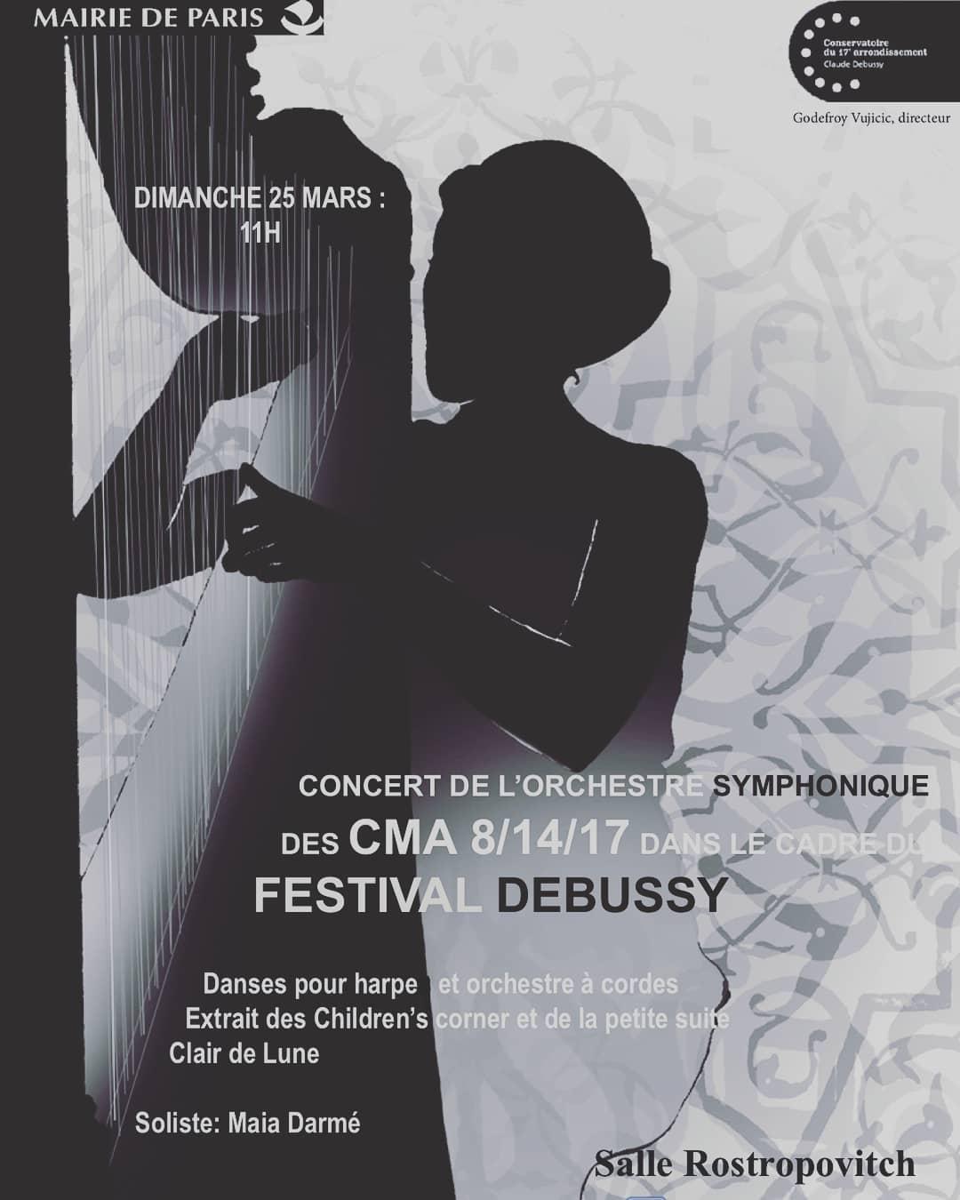 """If you're in Paris, come hear Debussy's masterful concertino for harp and orchestra, """"Danses Sacrée et Profane"""" on Sunday!! Auditorium Rostropovitch (222 rue de Courcelles, 75017), 11am. Entry is free if you book through+33 1 47 64 98 99  Si vous êtes à Paris, venez écouter les """"Danses sacrée et profane"""" de Debussy, un superbe concertino pour harpe et orchestre !! Dimanche 25 mars à 11h à l'auditorium Rostropovitch (222 rue de Courcelles dans le 17ème). Entrée libre sur réservation au 01 47 64 98 99"""