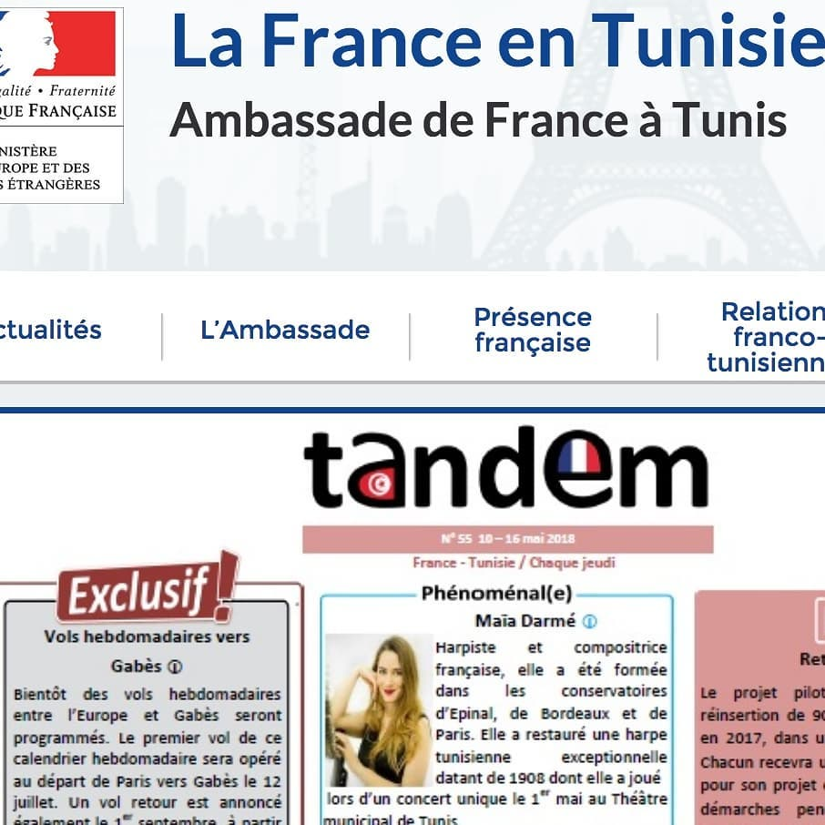 Grateful and honored to be featured on the  website and magazine of the French Embassy in Tunisia  Thank you to whoever wrote those kind words!