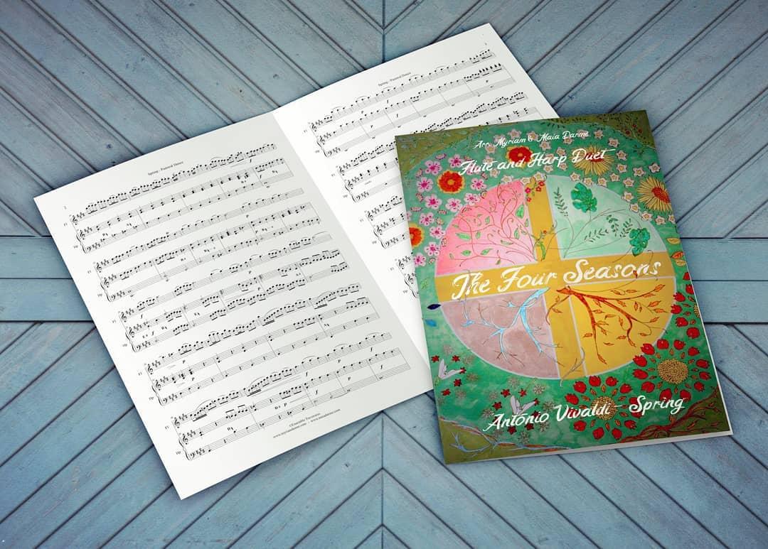 """Our flute and harp duet arrangement of Vivaldi's Spring has just been published!!  ️ It's a joyous piece, almost as heart-warming as the blueing skies! You can find it online on www.sheetmusicplus.com(or google """"Maia Darme Vivaldi arrangement"""").With original artwork by@clotilde_mry on the cover!! . ---------------------- .  Notre dernier arrangement pour duo flûte & harpe vient d'être publié !!! Juuuuste à temps pour les bourgeons et le retour du ciel bleu, LE PRINTEMPS DE VIVALDI !!    ️ La partition est disponible en ligne sur sheetmusicplus.com, et pour les français elle sera bientôt en vente via Profs Edition également ! Avec une illustration originale de @clotilde_mry en couverture !  . . ."""