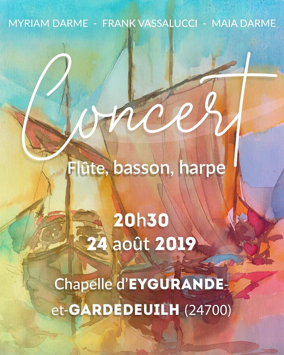 Anyone in Dordogne? We're playing in Eygurande tonight and we've got a cool program lined up!  Des gens en ? On joue ce soir à (24700) en trio flute, basson et harpe, avec un super programme !