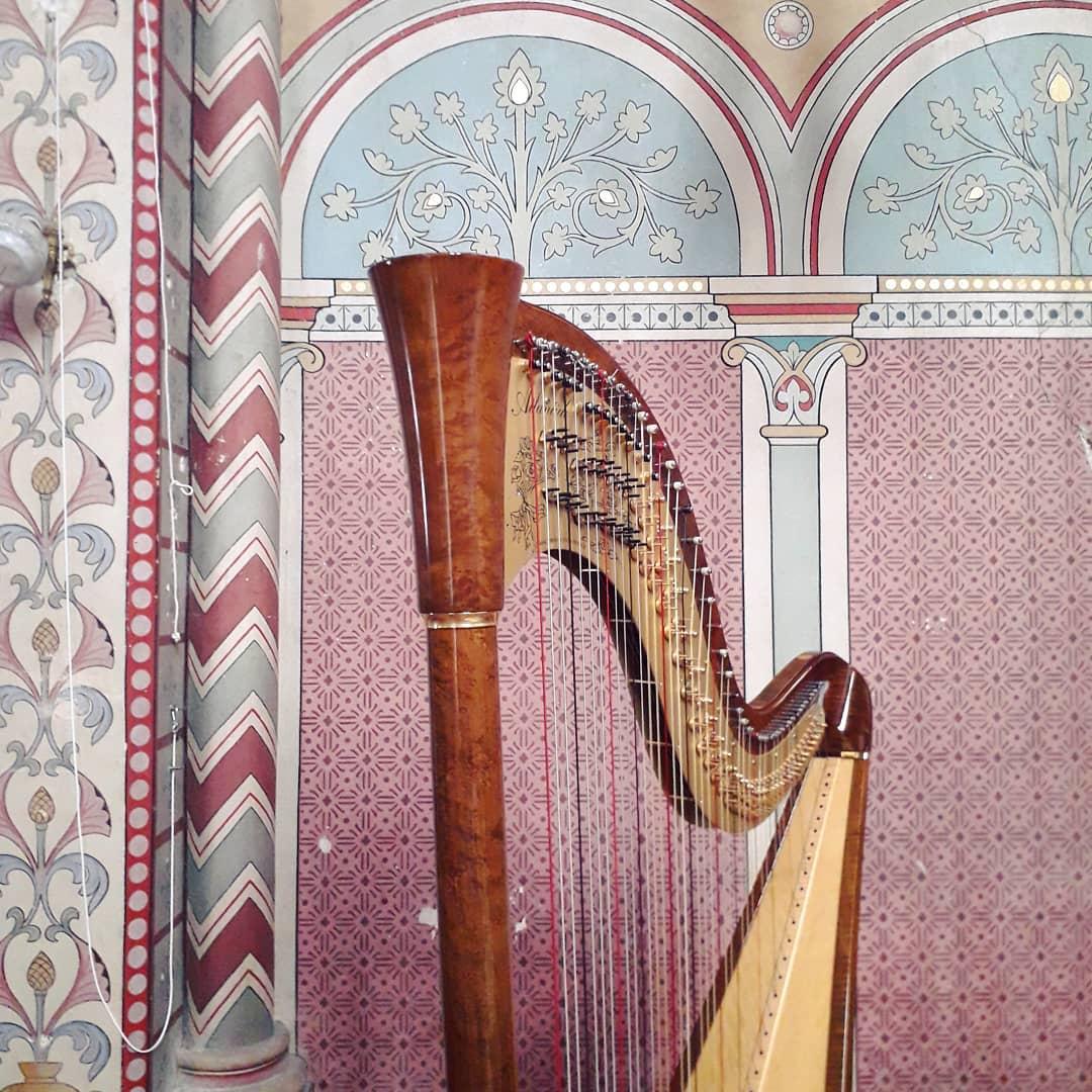 🦄🏵 Having an artistic photo moment while unpacking the harp for tonight's concert   Du rose, du rose, des arabesques, de la guimauve, encore du rose!!! 🤪🤣  petite pause artistique en s'installant pour le concert de ce soir!
