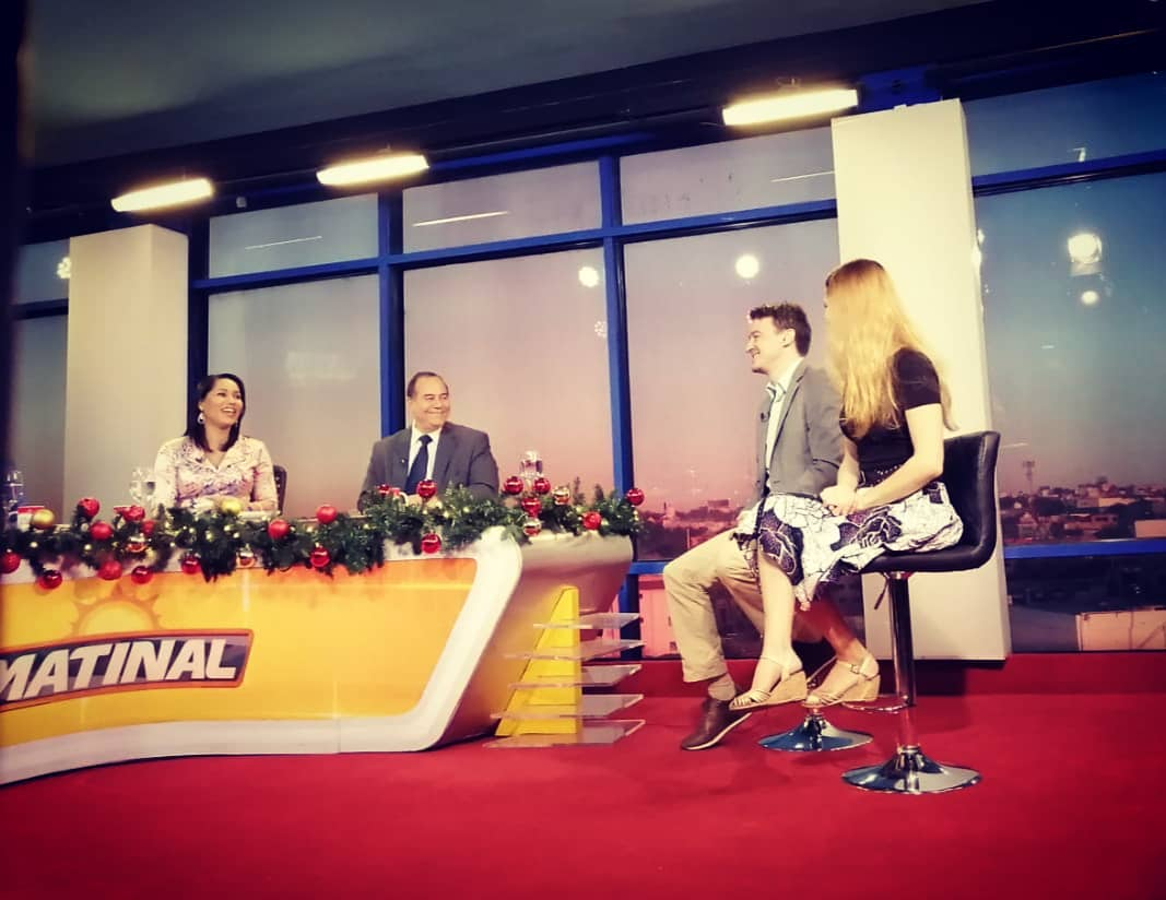 Rise and shiiiiiine 😴 from the morning show of Canal 5 talking about tomorrow's concert in Santo Domingo with the @cameratacaribensis and Carlos Mejía's new harp concerto!