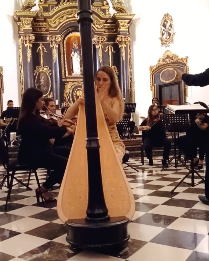"""Cumbia-time!! 🥳 Here's a little extract from the 3rd movement of Carlos Mejía's new harp concerto, """"Solstice Lunaire""""!! We're talking revisited traditional Colombian dance rhythms, baroque-style intros and timpani solos among other surprises 🤗  So yeah, I had a bit of fun getting to premiere this gorgeous new work!   Huge thanks to @sibelle_marquez for this video from our concert with the @cameratacaribensis in Santo Domingo two weeks ago!! . . ."""