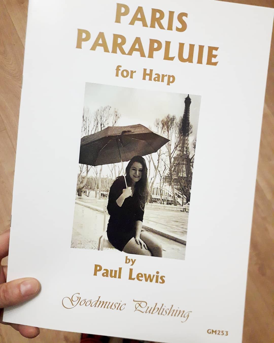 """I cannot even begin to express how grateful, honored and THRILLED I was when I received the brillant harp solo piece Paul Lewis dedicated to me, """"Paris Parapluie"""" 🤩 The score was just published by Good Music so now you can get it too (google """"Paris Parapluie Paul Lewis"""")!! Harpists friends, this is GORGEOUS music, highly recommended!! It's a 4'30 minutes long harp solo, advanced but not painstakingly difficult if that makes sense  A fair warning though, it sent me down a serious Paris nostalgia rabbit hole (to which I know no cure but wine) and might induce croissants cravings 🤷♀️ . .  Tellement émue, reconnaissante et fière d'avoir reçu la partition de la pièce que Paul Lewis m'a dédiée !! 🤩 L'oeuvre vient d'être publiée chez Good Music et la partition est disponible à l'achat en ligne (cherchez """"Paris Parapluie Paul Lewis"""")!! C'est un morceau (en toute objectivité ) magnifique et très agréable à jouer ! Amis harpistes, je le recommande chaudement, vous ne regretterez pas !! (Harpe solo, 4'30 minutes, niveau 3ème cycle)"""